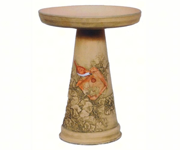 Hand Painted Wren Bird Bath and Pedestal