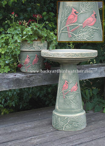 Hand Painted Cardinal Bird Bath And 10 Inch Planter
