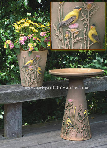 Hand Painted Gold Finch Bird Bath And 10 Inch Planter Set