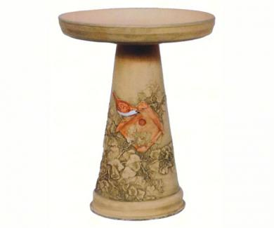 Hand Painted Wren Birdbath with Pedestal