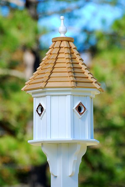 Classic Wood Shingle Slope Roof Birdhouse White Vinyl 34
