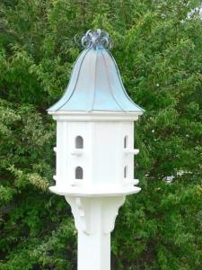 Copper Curly Roof Birdhouse In White Vinyl Pvc 14 Inch