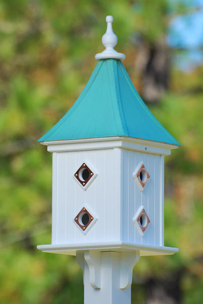 Copper Roof Birdhouse White Vinyl 28 In X12 In