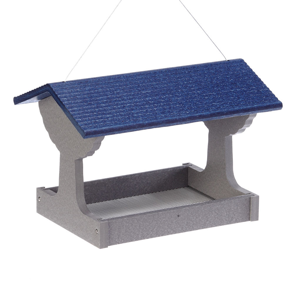 GSFT200B-Green-Solutions-Fly-Thru-Feeder-Gray-w_Blue-Roof