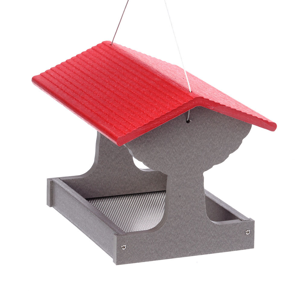 GSFT200R-Green-Solutions-Fly-Thru-Feeder-Gray-w_Red-Roof-Side-View