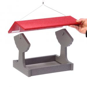 GSFT200R-Green-Solutions-Fly-Thru-Feeder-Gray-w_Red-Roof-Lifting-Cover