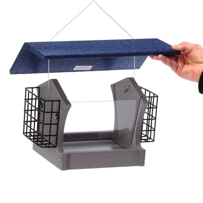 GSHF200S-B---Green-Solutions-Medium-Hopper-Feeder-w_Suet-Cages-Gray-w_Blue-Roof-Lifting-Cover-Rev