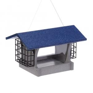 GSHF200S-B---Green-Solutions-Medium-Hopper-Feeder-w_Suet-Cages-Gray-w_Blue-Roof-Rev