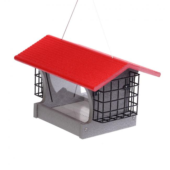 GSHF200S-R---Green-Solutions-Medium-Hopper-Feeder-w_Suet-Cages-Gray-w_Red-Roof-(2)
